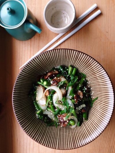 Asparagus & Shiitake Stir Fry (photo by Heather Logan, Kailyard Kitchen)
