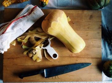 Preparing butternut squash (photo by Heather, kailyardkitchen.com)